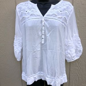 Solitaire White Boho blouse size M